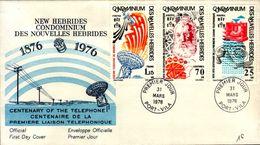 ENVELOPPE 1er JOUR ..1976..NEW HEBRIDES..CENTENAIRE DU TELEPHONE - FDC