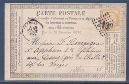 = Carte Postale Luxeuil à (Vosges) 13.8.1874 Type Cérès Dentelé III République N°55 Bistre 15c - 1849-1876: Période Classique