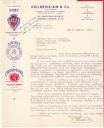 G B Londres - GULBENKIAN & Co, 50 Bedford Street,Strand,London W C 2. Alcools, Whine, Lettre De 1956. Tb état. - Royaume-Uni