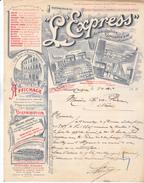 59 Lille - L'EXPRESS , Journal De Publicité, Siège 32 Rue Lepelletier à Lille, Lettre De 1911 ,très Très Décoré,Tb état - 1900 – 1949