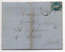 - FRANCE - Lettre MILLAU Pour BEZIERS 15.3.1870 - 20 C. Bleu Napoléon III Lauré Oblitéré Losange GC 2360 - - 1863-1870 Napoleon III With Laurels
