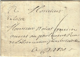 """1741- Lettre  """" De Luçon """"  Manuscrit  - Lenain L1  Taxe 6 Sols  Pour Paris - Postmark Collection (Covers)"""