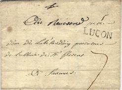 1750- Lettre  De LUCON  - Lenain L2  Taxe 7 Sols  Pour Saumur - Postmark Collection (Covers)
