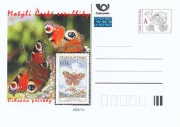 Tschech. Rep. / Ganzsachen (Pre2015/38) Schmetterlinge Der CR (Naturschutz) Maler: Max Svabinsky, 3 - Inachis Io - Timbres Sur Timbres