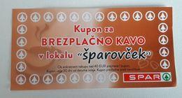 SLOVENIA  SPAR Coupon For Coffe  Xf/aunc - Slovenia