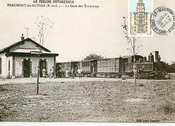 Beaumont-les-Autels Animée La Gare Train En Gare Ligne De Brou à Nogent-le-Retrou Locomotive Corpet-Louvet - Francia