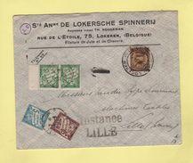 Lettre De Belgique Taxee En France - Lokeren - Lille - 1934 - Marcophilie (Lettres)