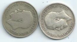 MONNAIE GRANDE BRETAGNE 2 Pieces Argent One Shilling 1920 Et 1921diametre 18 Mm Port 1,50 Euro - 1902-1971 : Post-Victorian Coins
