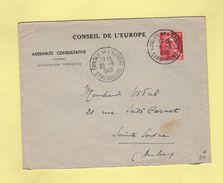 Conseil De L'Europe - 26-8-1949 - Assemblee Consultative - Marianne De Gandon - Postmark Collection (Covers)