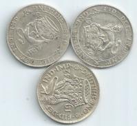 MONNAIE GRANDE BRETAGNE 3 Pieces Argent One Shilling 1915 1919 Et 1942 Diametre 18 Mm Port 1,50 Euro - 1902-1971 : Post-Victorian Coins