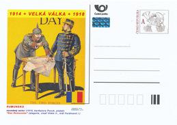 """Tschech. Rep. / Ganzsachen (Pre2015/44) Großer Krieg (WWI) Rumänien: """"Romanian Day"""" (1916); Wilhelm II., Ferdinand I. - Flaggen"""