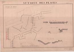 Planche Originale - Ecole D'Artillerie De Metz - 1836 1837 - Attaque Des Places - Fortifications - Documents
