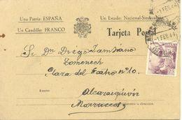 De Almendralejo (Badajoz) A Marruecos 1944 Textos Impresos Patrióticos Sobre Postal - Marcas De Censura Nacional