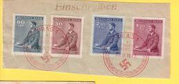 GERMANIA REICH - PRAGA 1942 -  FRANCOBOLLI SU FRAMMENTO DI RACCOMANDATA CON ANNULLI - Occupation 1938-45