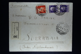 Italy: Registered Cover Trapani   To Soerabaja Dutch East Indies Mixed Stamps  1 Pair.  Nice Cancels - 1900-44 Vittorio Emanuele III
