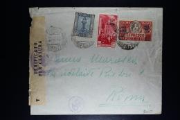 Libia:  Cover Tripoli To Roma  1942 Censor Cancels And Strip Mixed Stamps Sa E 17 Espresso - Libya