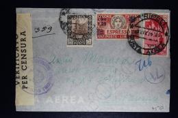 Libia:  Cover Tripoli To Catanzaro  1941 Censor Cancels And Strip Mixed Stamps Sa E 17 Espresso - Libië
