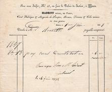 1838 - ROUEN (76) - 43, Rue Aux JUIFS - Fabrique Et Magasin De LAMPES, Bronze Etc Maison HADROT Jeune, De Paris - Documents Historiques