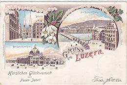 Luzern - Winterlitho Mit Bahnhof - Strass - 1898     (P-97-171128) - LU Lucerne