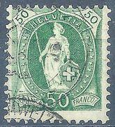 Stehende Helvetia 74E, 50 Rp.grün  Zollstempel          1901 - Usati