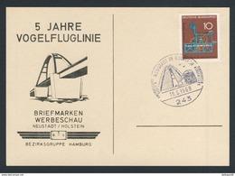 Deutschland Germany 1968 Card / Karte / Carte - 5 Jahre Vogelfluglinie / Briefmarken Werbeschau, Neustadt /Holstein - Treinen