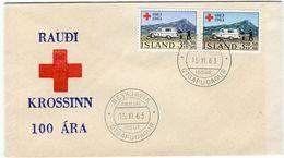 Iceland/Islande/Ijsland/Island FDC 15.XI.1963 Red Cross Ambulances Matching Cover - FDC