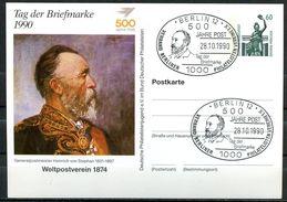 """Germany 1990 Privatganzsache 500 Jahre Post Mi.Nr.PP ?? Mit SST""""Berlin 12-500 Jahre Post,Tag Der Briefmarke"""" 1 GS - Post"""