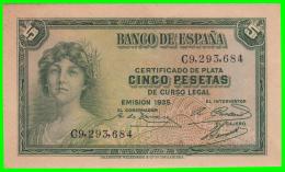 BILLETE DEL BANCO DE ESPAÑA  5 Pta. AÑO 1935  CERTIFICADO DE PLATA - [ 2] 1931-1936 : République