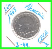 GERMANY  MONEDA DE 2 DM.  AÑO 1968-D - [ 7] 1949-… : RFA - Rep. Fed. Alemana