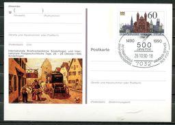 """Germany 1990 Bildganzsache Sindelfingen Mi.Nr.PSo 23 Mit SST""""Sindelfingen-500 Jahre Post,Intern.Briefmarkenbörse"""" 1 GS - Post"""