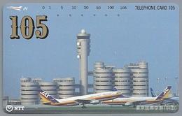 JP.- Japan, Telefoonkaart. Telecarte Japon. NTT. TELEPHONE CARD 105. 105. VLIEGTUIGEN. - Vliegtuigen