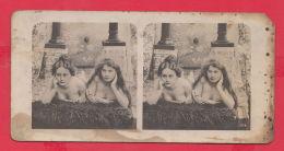 220126 / Old Real Original Photo - TWO EROTIC WOMAN GIRL ,LESBIAN LONG HAIR  - Nr. 578 - Stereoscopi