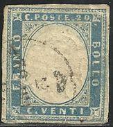 1855-63 - SARDEGNA - 20 CENT. - 15Eb VARIANTE - USATO - SIGNED - SPL - EURO 600,00+++ - Sardegna