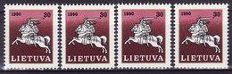 LITHUANIA, 1991, MI 467, 4 X MNH** Horses - Lituania