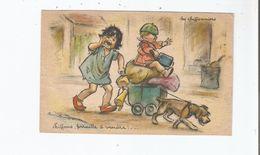 GERMAINE BOURET ILLUSTRATION ATTELAGE DE CHIEN ET ENFANTS (CHIFFONS FERAILLE A VENDRE) - Bouret, Germaine