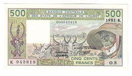 West African States 500 Francs 1981 K (Senegal) Low S/N UNC Little Paper Stain - Estados De Africa Occidental