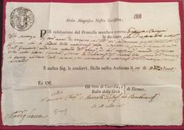 MODIGLIANA FIRENZE 1766 RISOLUZIONE PROCESSO GIUSEPPE CAMPRI CON TRE ANNI DI CONFINO.....17/10/1766 - Historical Documents