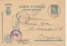 KING MICHAEL, MILITARY CENSORED, WW2, FREE MILITARY PC STATIONERY, ENTIER POSTAL, 1942, ROMANIA - Cartas
