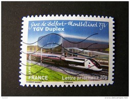 OBLITERE ANNEE 2014 N°1010 GARE DE BELFORT MONTBELIARD TGV DUPLEX DU CARNET LA GRANDE EPOPEE DU VOYAGE EN TRAIN - France