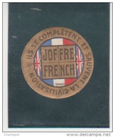 France WWI 1915 Joffre, French, British Flag Vignette  Military Heritage Poster Stamp - Military Heritage