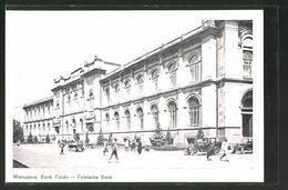 AK Warschau-Warszawa, Strassenansicht Mit Polnischer Bank, Bank Polski - Pologne