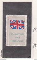 France WWI  British Flags  L'angleterre Sera Implacable Vignette  Military Heritage Poster Stamp - Commemorative Labels