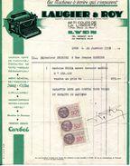 """LAUGIER & ROY AGENT GENERAL DES MACHINES A ECRIRE """" IDEAL & ERIKA """"  69,71 COURS DE LA LIBERTE.LYON. - Stamperia & Cartoleria"""