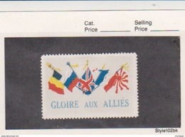 France WWI  5 Flags  Gloire Aux Allies Vignette  Military Heritage Poster Stamp - Military Heritage