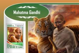 GUINEA REP. 2017 ** Tiger Tigres Mahatma Gandhi S/S - IMPERFORATED - DH1747 - Raubkatzen