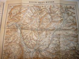Meran Merano Bozen Bolzano Gries Italy  Austria Tirol Map Karte 1914 - Carte Topografiche