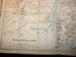 Bozen Bolzano Gries Italy  Austria Tirol Map Karte 1914 - Carte Topografiche