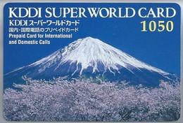 JP.- Japan, Telefoonkaart. Telecarte Japon. Vulkaan. KDDI SUPER WORLD CARD 1050. PREPAID CARD FOR INTERNATIONAL - Volcans