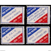 France WWI 4 Different Pro Patria 1914-1915 Stamps Vignette Poster Stamp - Military Heritage