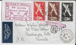 SPM - 1948 - ENVELOPPE RECOMMANDEE => SHAWINIGAN FALLS Avec CACHET 1° VOL SPM / CANADA / USA / FRANCE - St.Pierre & Miquelon